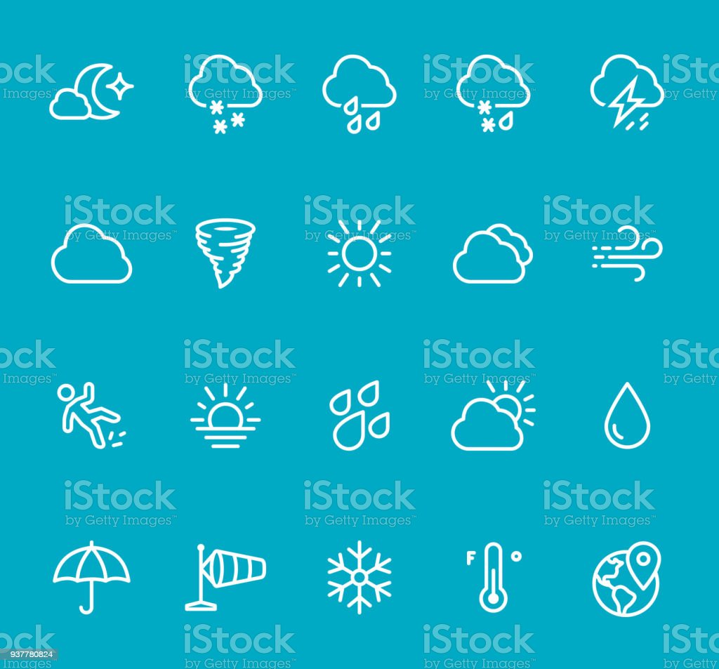 Clima - conjunto de ícones de linha - ilustração de arte em vetor