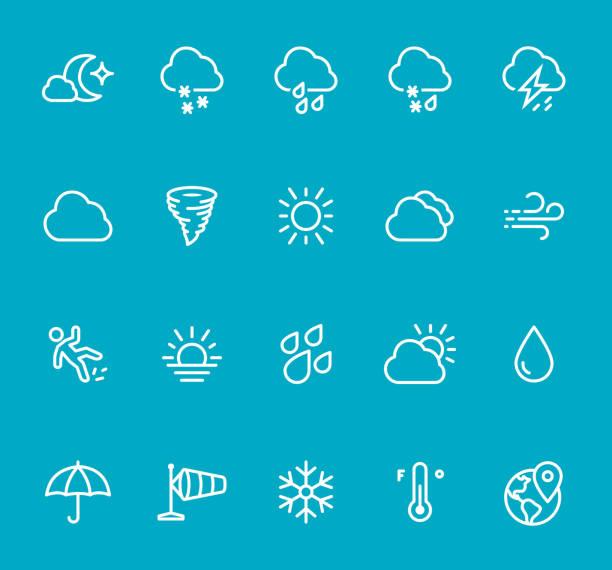 wetter - linie-icon-set - schneeflocke sonnenaufgang stock-grafiken, -clipart, -cartoons und -symbole