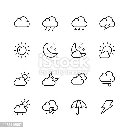 16 Weather Outline Icons.