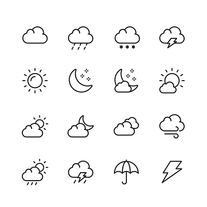 Weather Line Icons. Editable Stroke. Pixel Perfect. For Mobile and Web. Contains such icons as Weather, Sun, Cloud, Rain, Snow, Temperature, Climate, Moon, Wind.