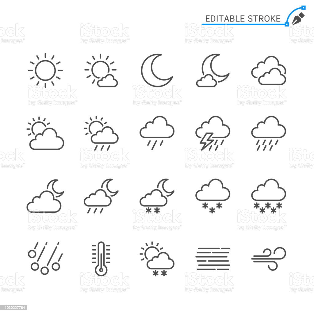 Weather line icons. Editable stroke. Pixel perfect. Simple vector line Icons. Editable stroke. Pixel perfect. Cloud - Sky stock vector