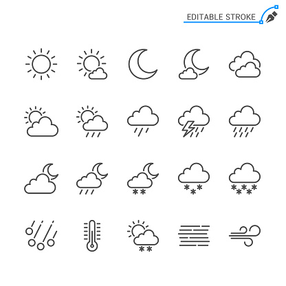 Weather line icons. Editable stroke. Pixel perfect.