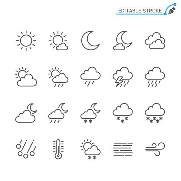 bildbanksillustrationer, clip art samt tecknat material och ikoner med line utegivaren. redigerbara stroke. pixel perfekt. - sun