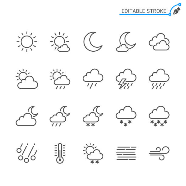 Weather line icons. Editable stroke. Pixel perfect. Simple vector line Icons. Editable stroke. Pixel perfect. thunderstorm stock illustrations