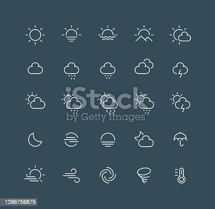 Set of weather line vector icons. Editable stroke.