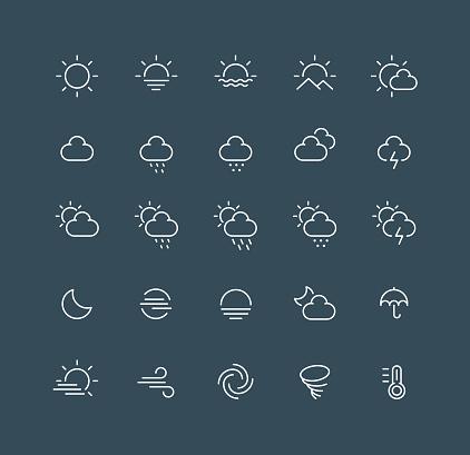 Weather Line Icons Editable Stroke