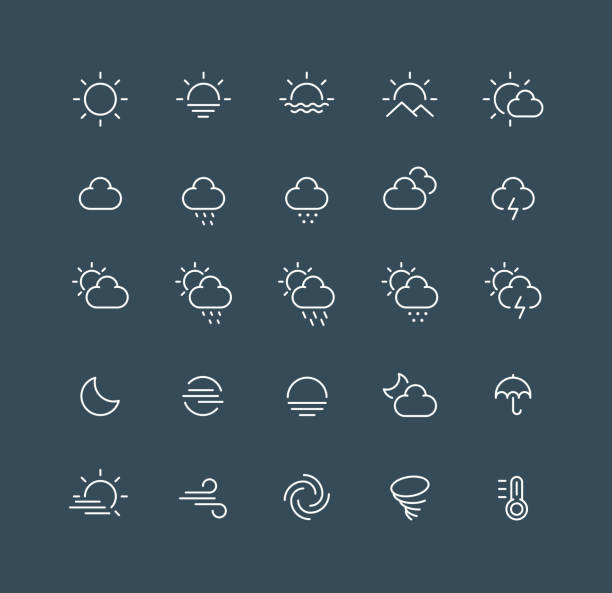날씨 라인 아이콘 편집 가능한 스트로크 - 날씨 stock illustrations