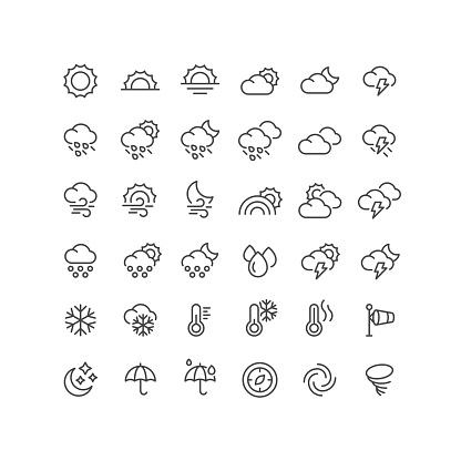 36 Weather Line Icons Editable Stroke