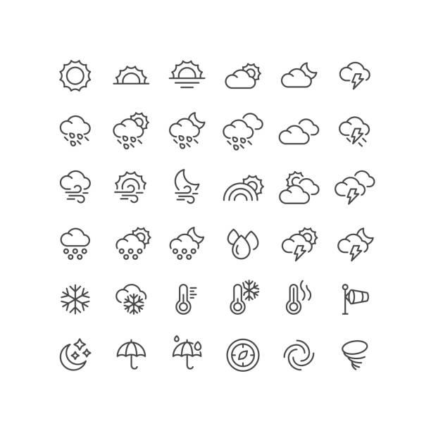 36 wetterlinien-symbole bearbeitbarer strich - schneeflocke sonnenaufgang stock-grafiken, -clipart, -cartoons und -symbole