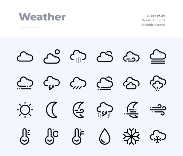 Weather Line Icons. Material design pixel perfect icon. Editable Stroke. 32x32 Pixel Perfect icon Editable Stroke. 32x32 Pixel Perfect icon hailing a ride stock illustrations