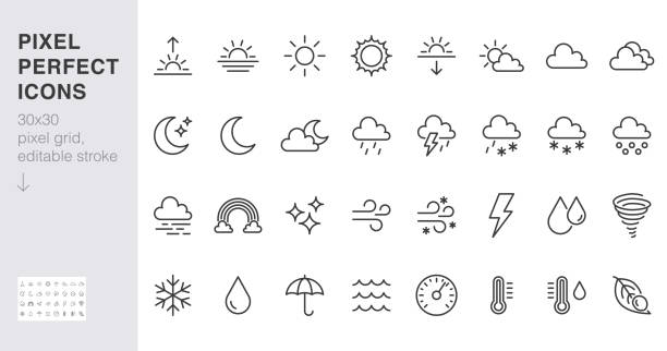ilustrações de stock, clip art, desenhos animados e ícones de weather line icons set. sun, rain, thunder storm, dew, wind, snow cloud, night sky minimal vector illustrations. simple flat outline signs for web, forecast app. 30x30 pixel perfect. editable strokes - condições meteorológicas
