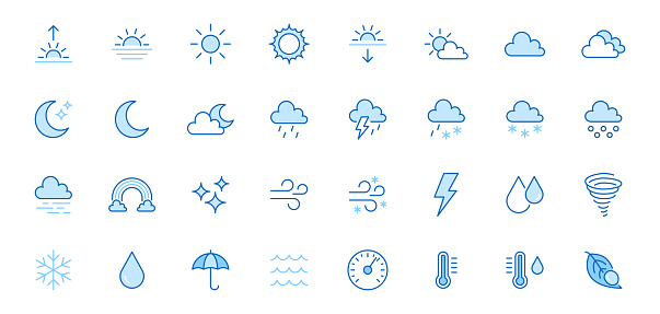 Weather line icons set. Sun, rain, thunder storm, dew, wind, snow cloud, night sky minimal vector illustrations. Simple flat outline signs for web, forecast app. Blue color, Editable Stroke
