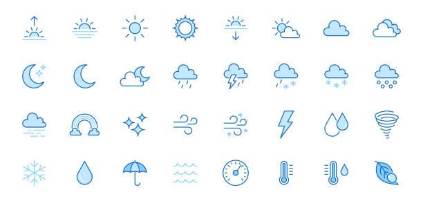 wetterliniensymbole gesetzt. sonne, regen, gewitter, tau, wind, schneewolke, nachthimmel minimale vektor-illustrationen. einfache flache gliederung sendezeichen für web, prognose-app. blaue farbe, bearbeitbarer strich - schneeflocke sonnenaufgang stock-grafiken, -clipart, -cartoons und -symbole
