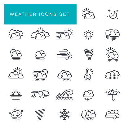 Weather line icons set