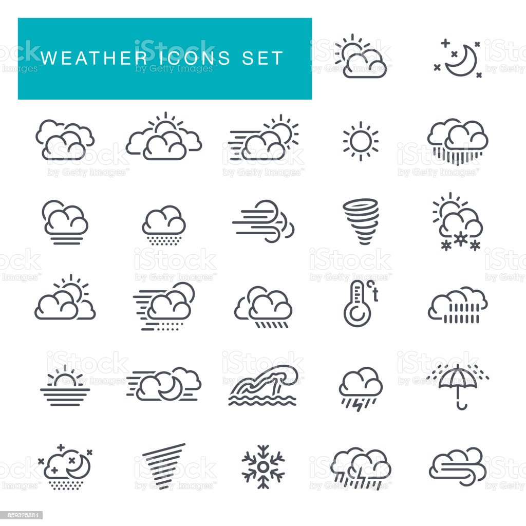Weather line icons set vector art illustration