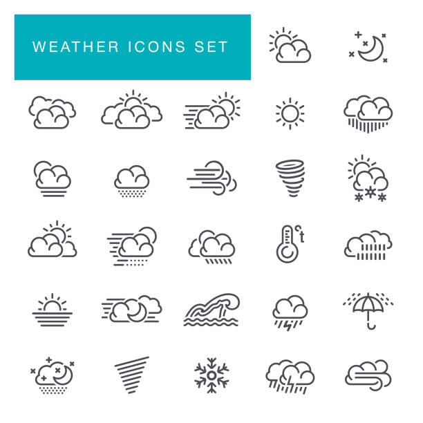 weather line icons set - weather stock illustrations, clip art, cartoons, & icons