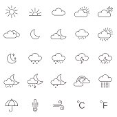 Weather line icons set.Vector