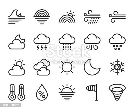 Weather Line Icons Vector EPS File.