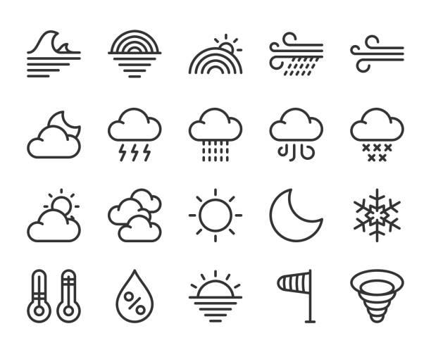 illustrazioni stock, clip art, cartoni animati e icone di tendenza di weather - line icons - grandine vector