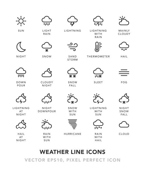 weather line icons - weather stock illustrations, clip art, cartoons, & icons