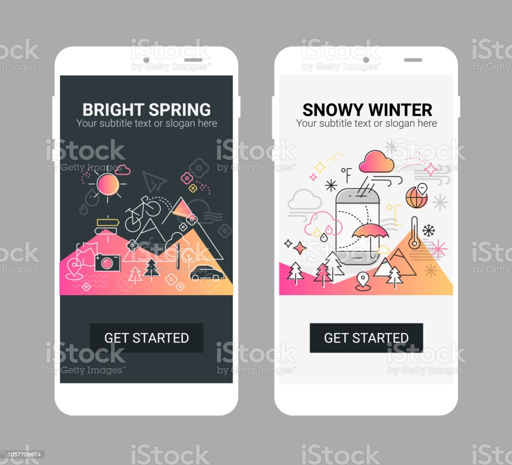 Weather Line Illustration Splash App Screen Mobile Mockup