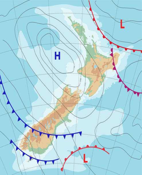 ilustrações de stock, clip art, desenhos animados e ícones de weather map of the new zealand. meteorological forecast. topography map. editable vector illustration of a generic weather map showing isobars and weather fronts. - weatherman