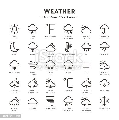 Weather - Medium Line Icons - Vector EPS 10 File, Pixel Perfect 30 Icons.