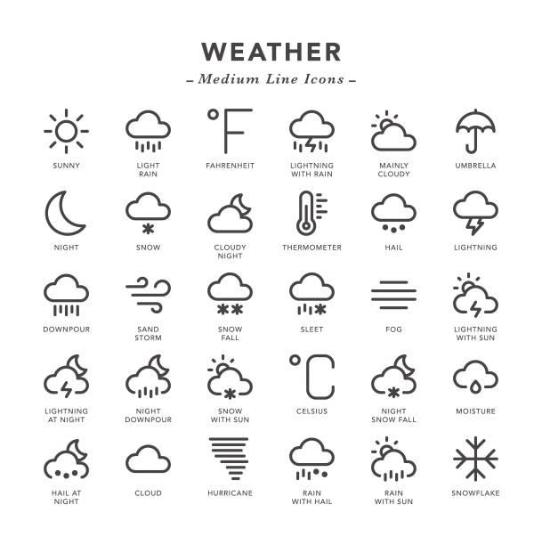 illustrazioni stock, clip art, cartoni animati e icone di tendenza di weather - medium line icons - grandine