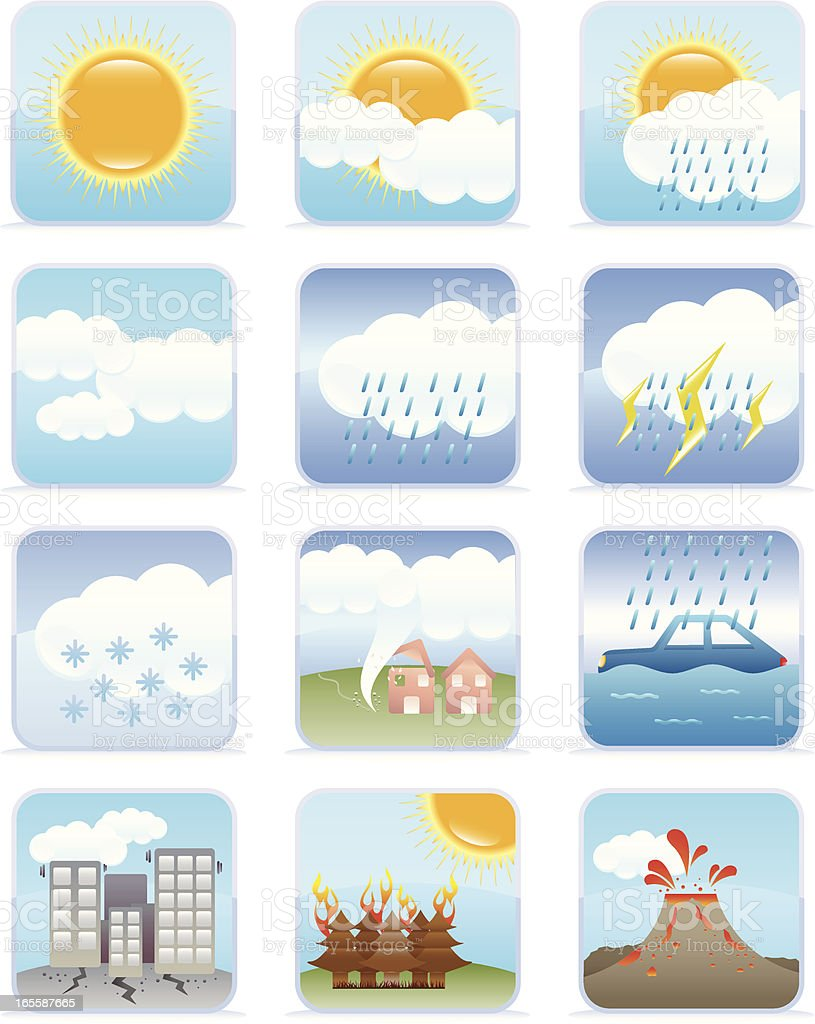 Weather & Natural Disaster Icons royalty-free stock vector art