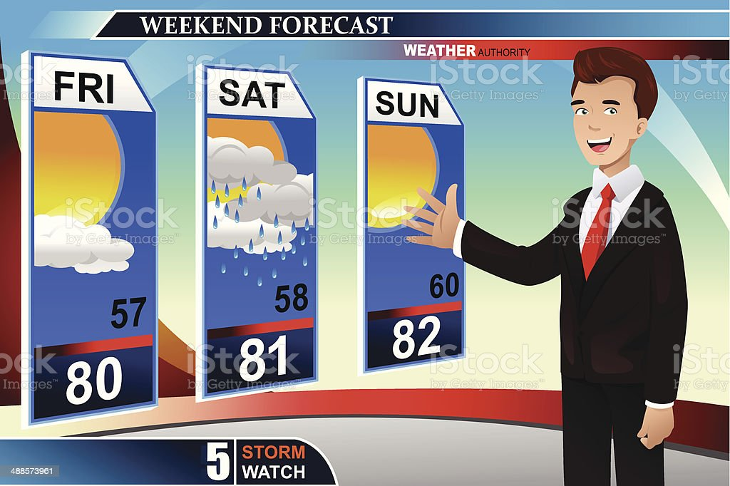 Weather news reporter vector art illustration