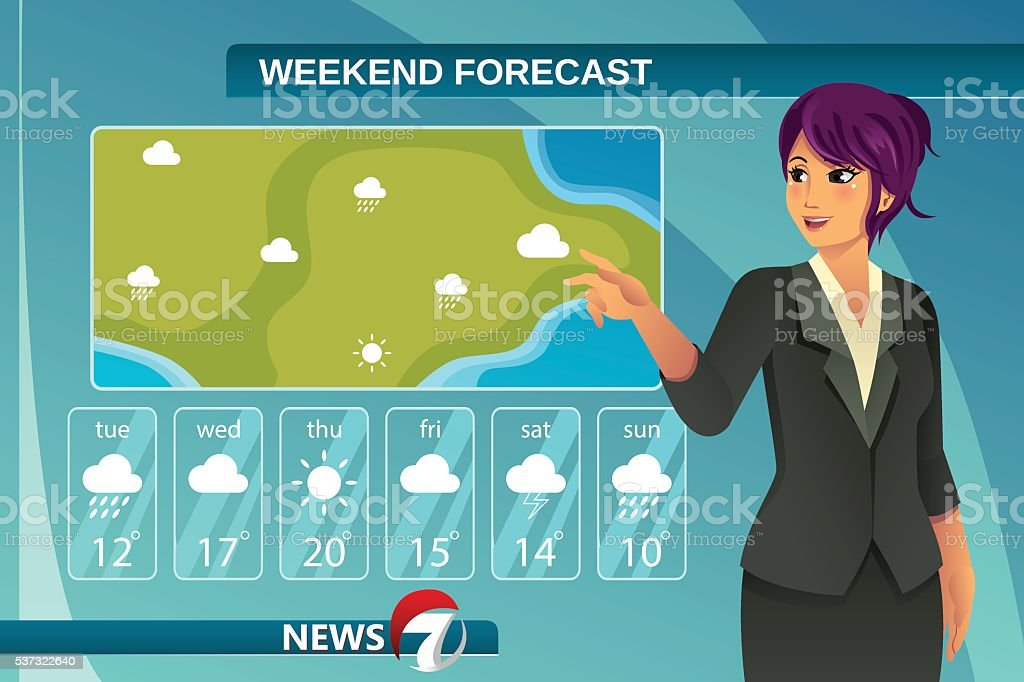 TV Weather News Reporter vector art illustration