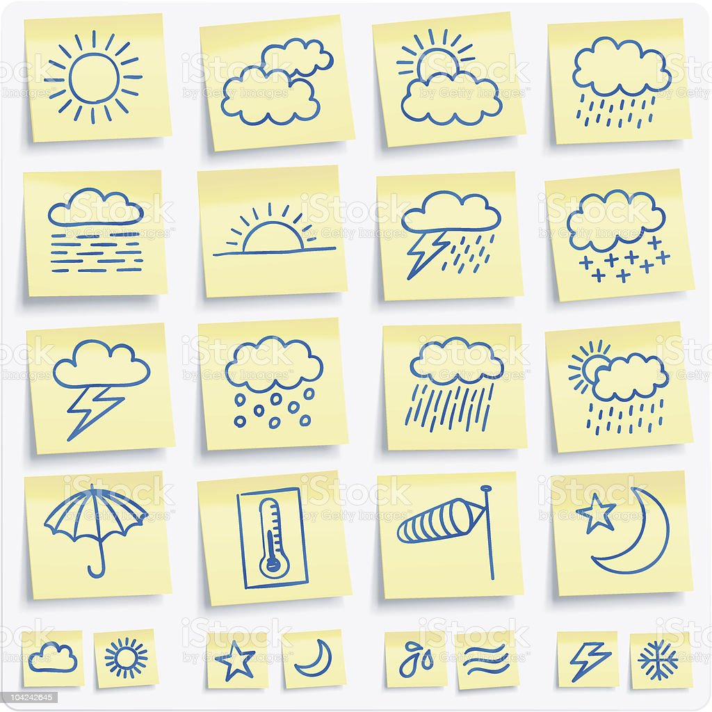 weather notes vector art illustration