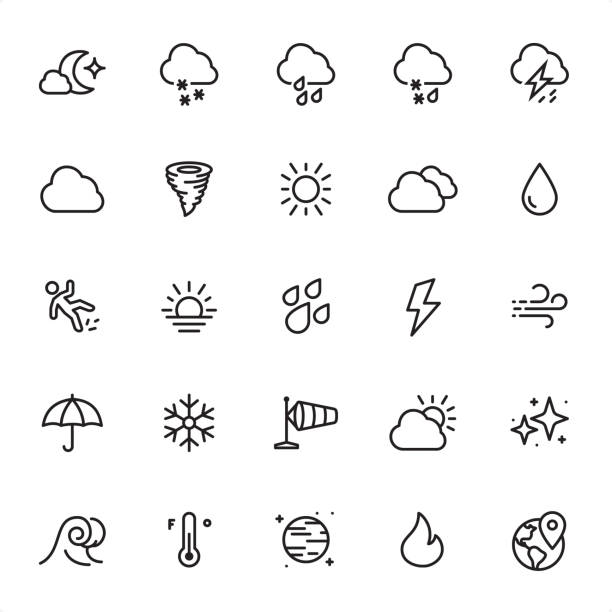 illustrazioni stock, clip art, cartoni animati e icone di tendenza di weather - outline icon set - grandine