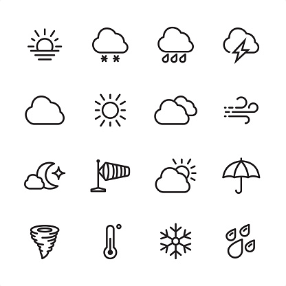 Weather - outline icon set