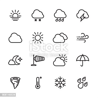 16 line black and white icons / Set #42 / Weather