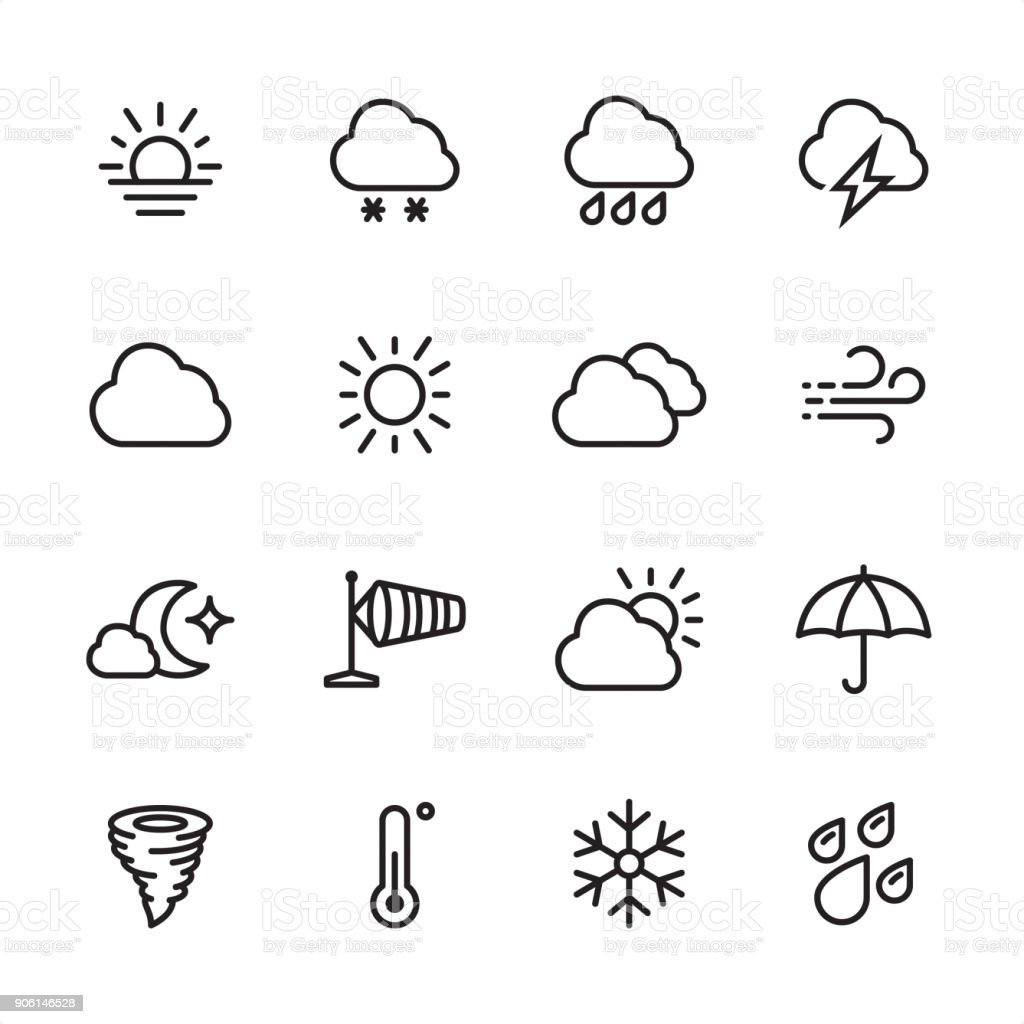 天気予報 - アウトラインのアイコンを設定 ベクターアートイラスト