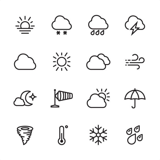 weather - outline icon set - rain stock illustrations, clip art, cartoons, & icons