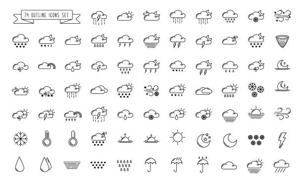 wetter umriss icons - schneeflocke sonnenaufgang stock-grafiken, -clipart, -cartoons und -symbole