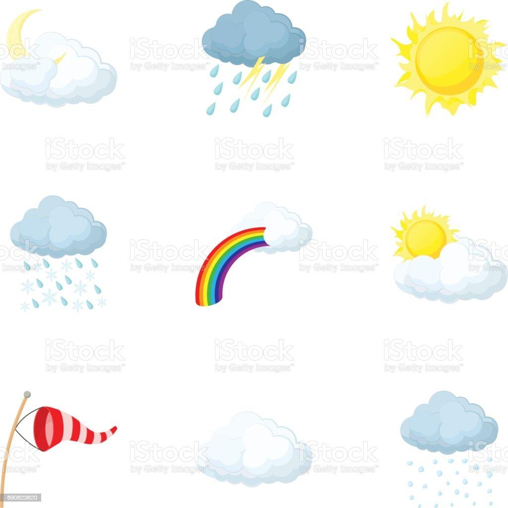Weather outside icons set, cartoon style vector art illustration