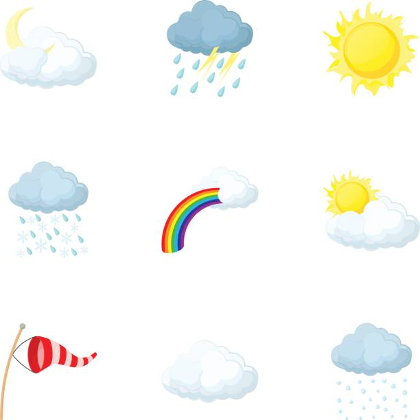 Weather outside icons set, cartoon style Weather outside icons set. Cartoon illustration of 9 weather outside vector icons for web hailing a ride stock illustrations