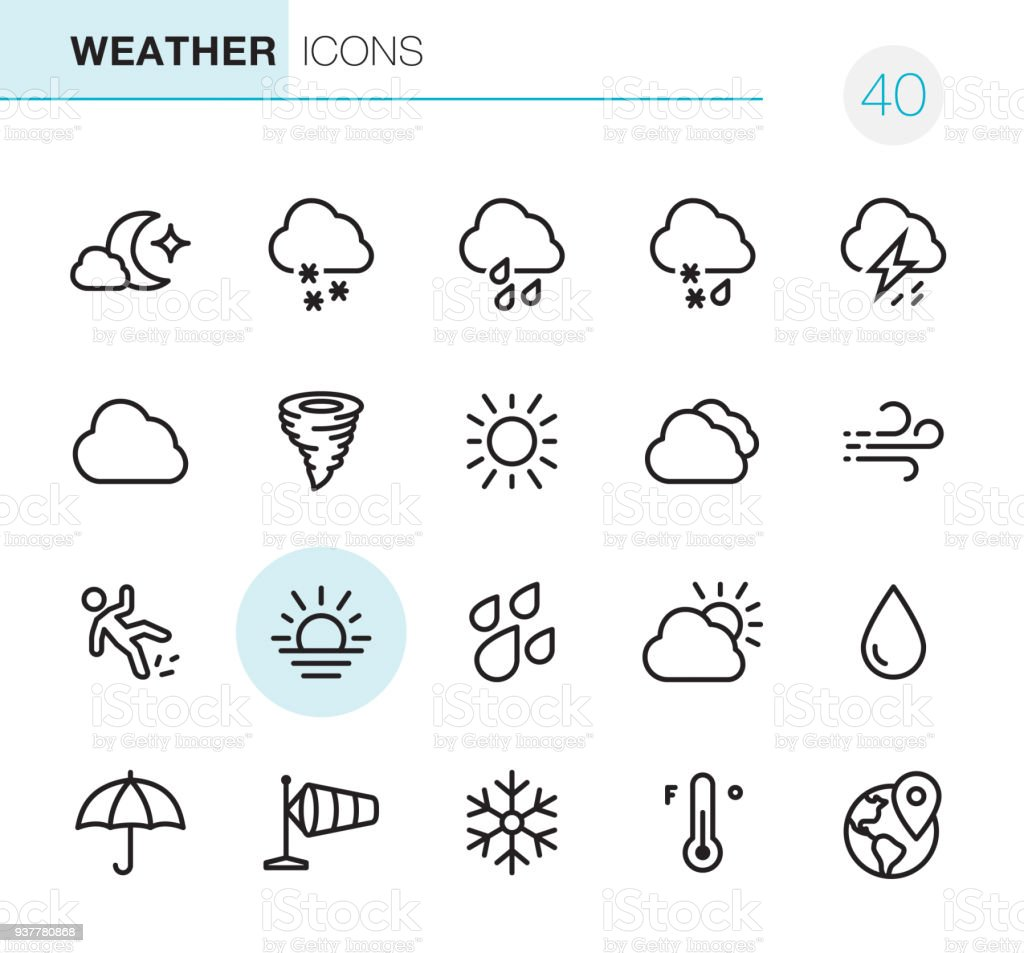 Weather - Pixel Perfect icons vector art illustration