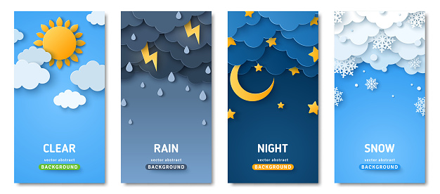 Weather posters set