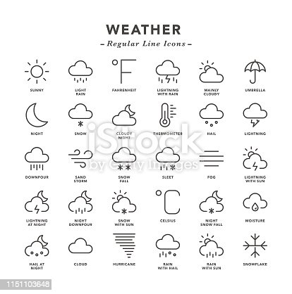 Weather - Regular Line Icons - Vector EPS 10 File, Pixel Perfect 30 Icons.