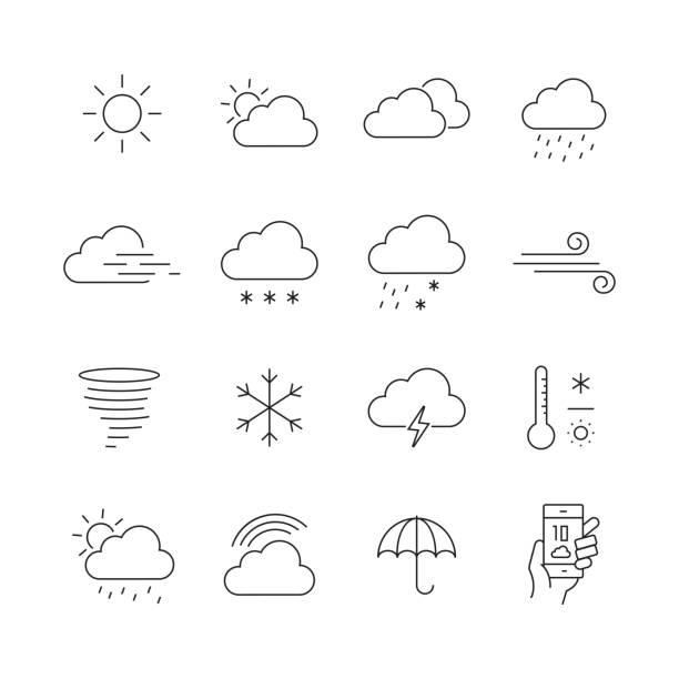 stockillustraties, clipart, cartoons en iconen met weather related-set van dunne lijn vector iconen - regen zon