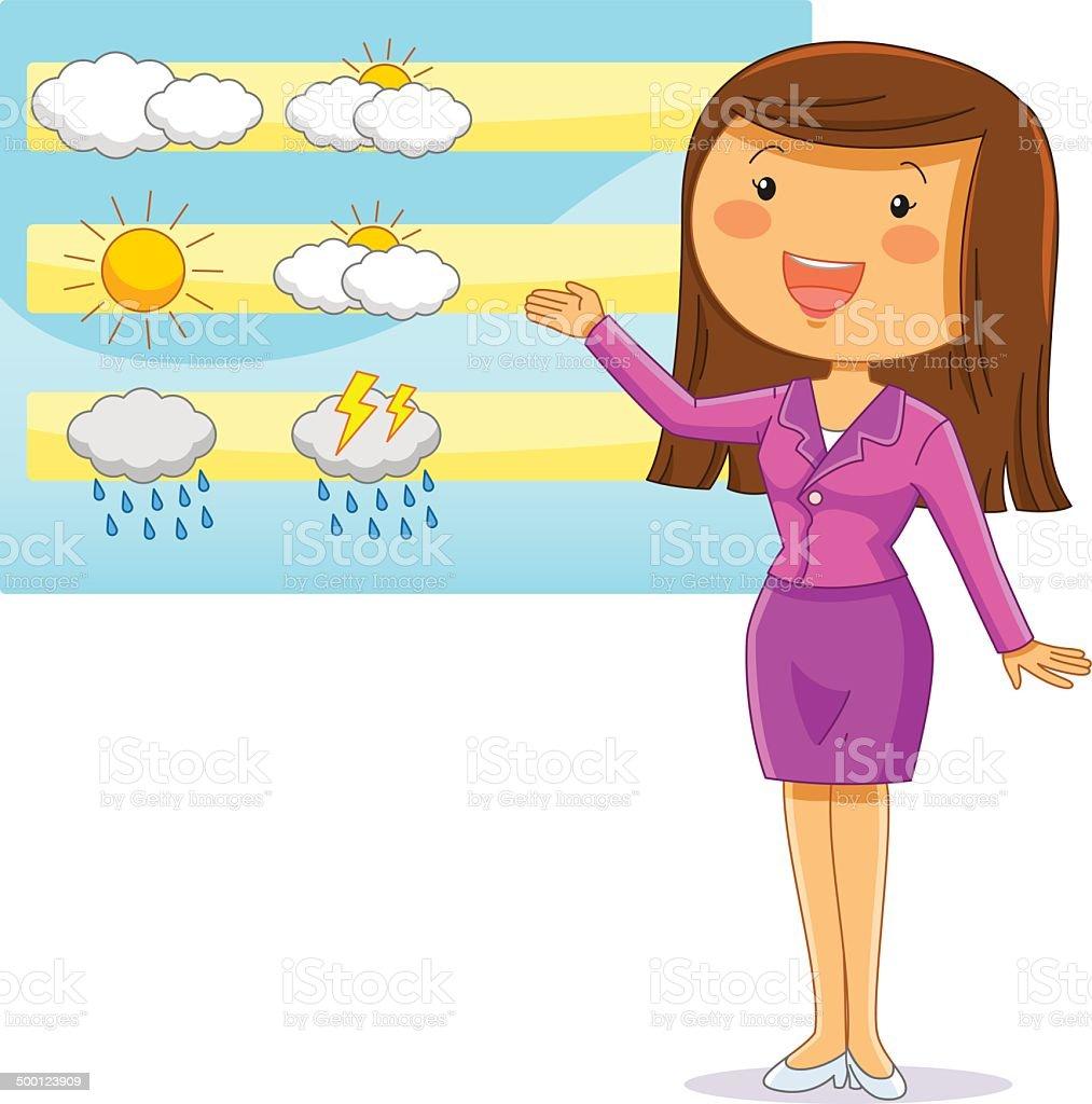 weather reporter vector art illustration