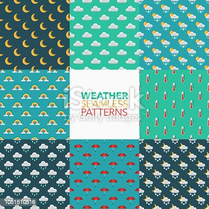 A set of eight seamless patterns created from a single flat design icon. All patterns can be tiled on all sides. File is built in the CMYK color space for optimal printing and can easily be converted to RGB. No gradients or transparencies used, the shapes have been placed into a clipping mask.