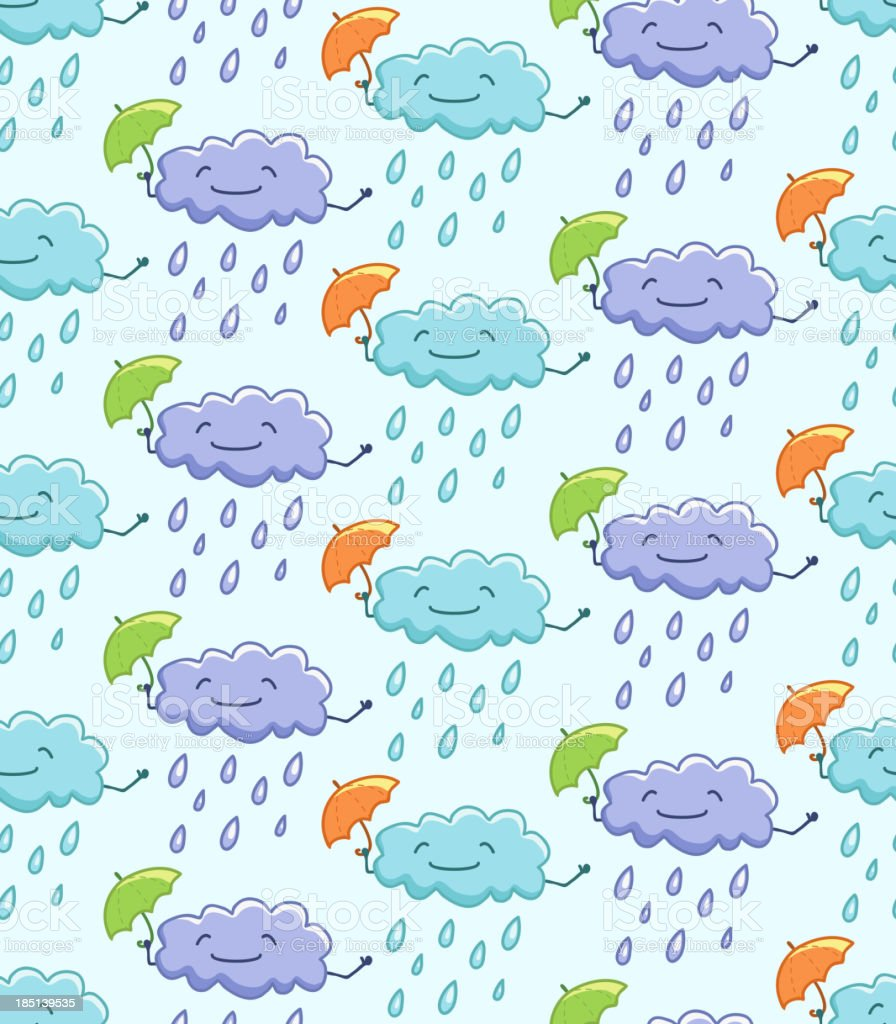 Weather seamless texture. Funny clouds. royalty-free stock vector art