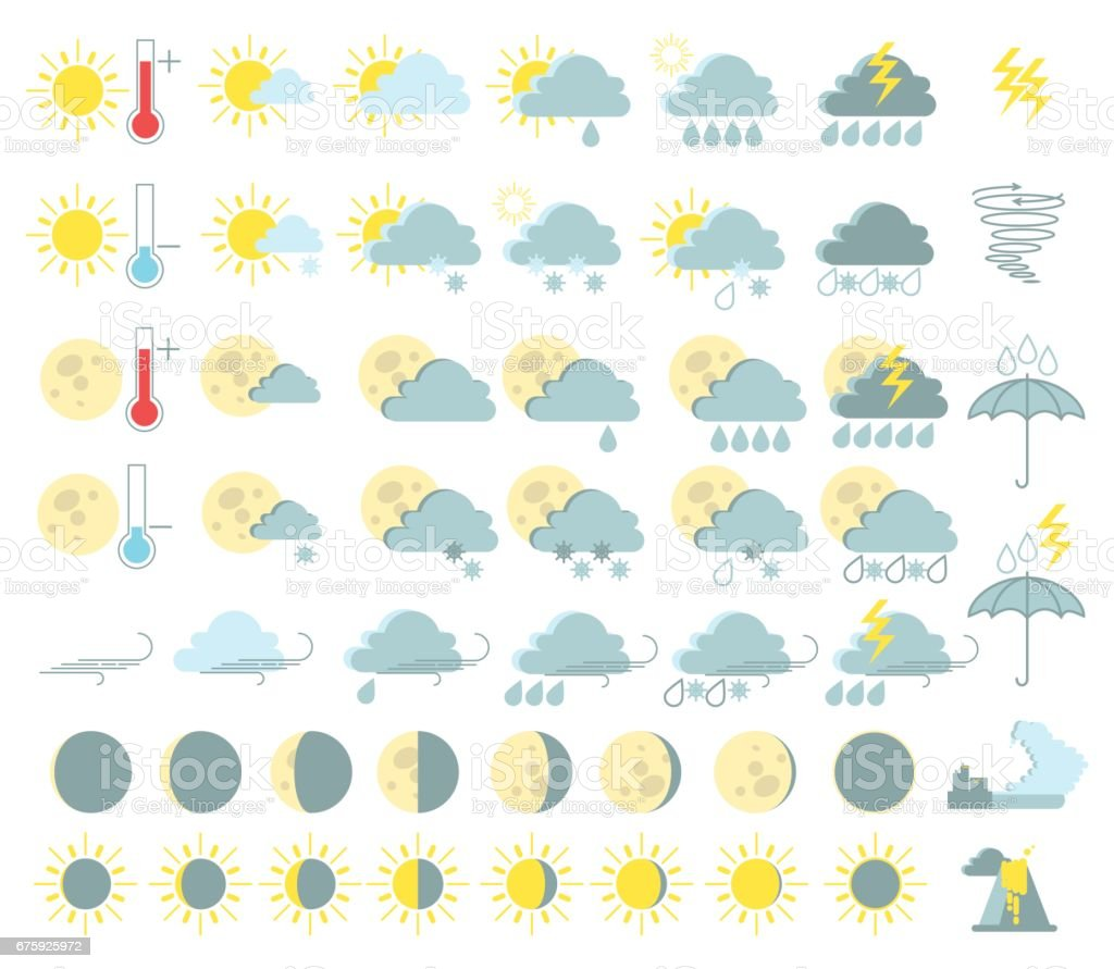 Weather set of colored icons. Rain and thunderstorms, sunny, tornado, tsunami, volcanic eruption. Vector vector art illustration