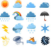 drawing of vector weather symbols.