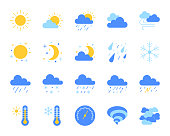 Weather flat icons set. Web sign kit of meteorology. Climate pictogram collection includes sun, tornado, fog. Simple weather cartoon colorful icon symbol isolated on white. Vector Illustration